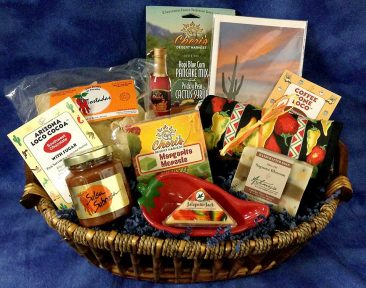 Probably my most popular gift basket. Taste of Tucson and it is what it implies. 90 percent of the products in this gift basket are made and sold not only locally here in Tucson but across the country.