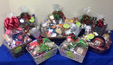 Holiday gift baskets I created for a client to give to their employees.